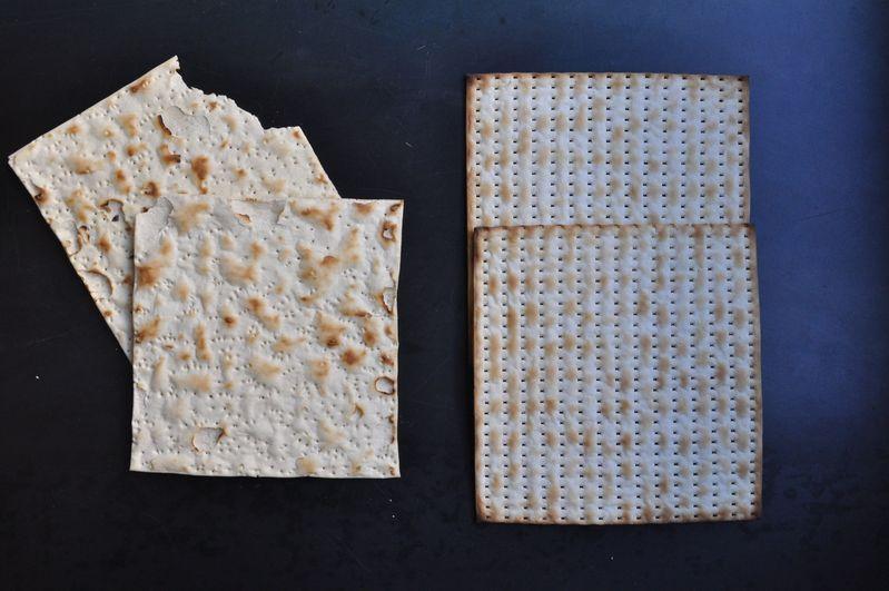 Artisan matzo (left) versus Manischewitz matzo (right).