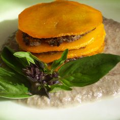 Squash ravioli or squash towers