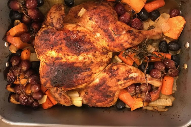 Mediterranean Spatchcock Chicken with Roasted Vegetables and Grapes