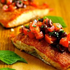 Pan-Seared Salmon with Tomato-Olive Salsa