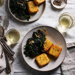Cheesy, Cornbread-ish Polenta Meets Zesty Kale, Forgets Main Dish