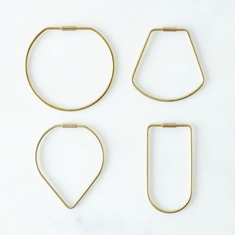 Brass Contour Key Ring Sets