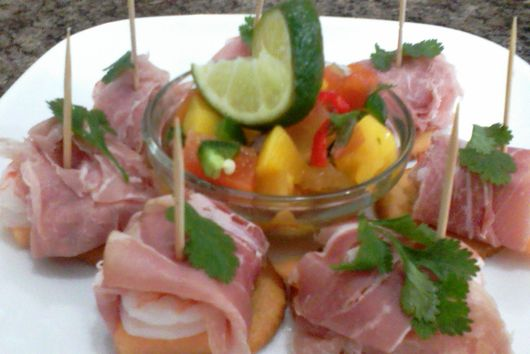 Tropical Mango Salsa with Proscuitto Wrapped Shrimp