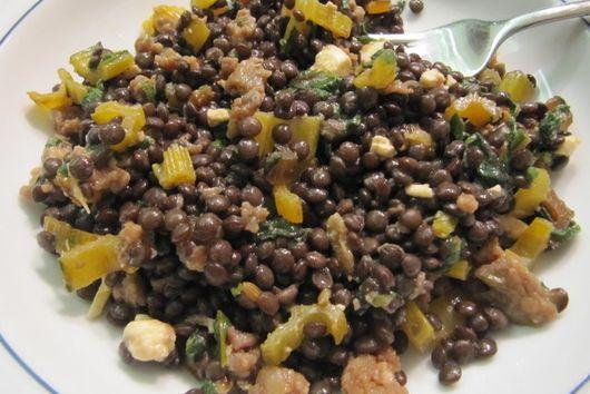 Warm Lentil Salad with Swiss Chard, Feta and Red Wine-Black Pepper Vinaigrette