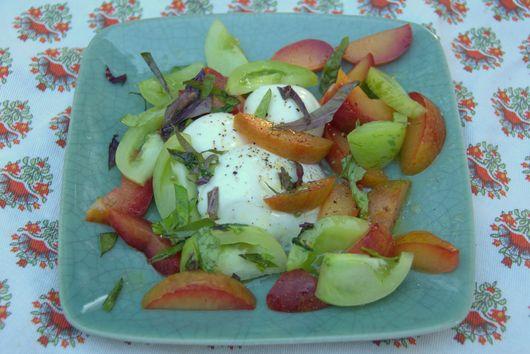 Pluot, Green Tomato and Mozzarella Salad