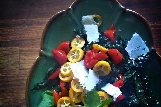 Kumquat and hot pepper kale salad