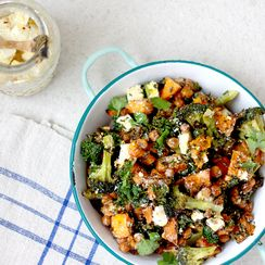 ROASTED BROCCOLI AND CRUNCHY CHICKPEA SALAD WITH LEMON AND CHILLI MARINATED FETA