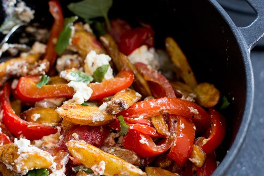 Potato Salad with Baked Vegetables, Cumin, Feta and Basil