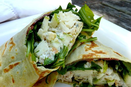 Smoked Trout Green Apple Salad and Horseradish Crepes