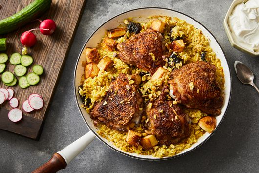 One-Skillet Garam Masala Chicken Thighs & Saffron Rice