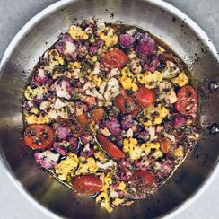 Stewed Cauliflower, Tomatoes, and Chick Peas with Lemony Uplift, ala Tamar Adler
