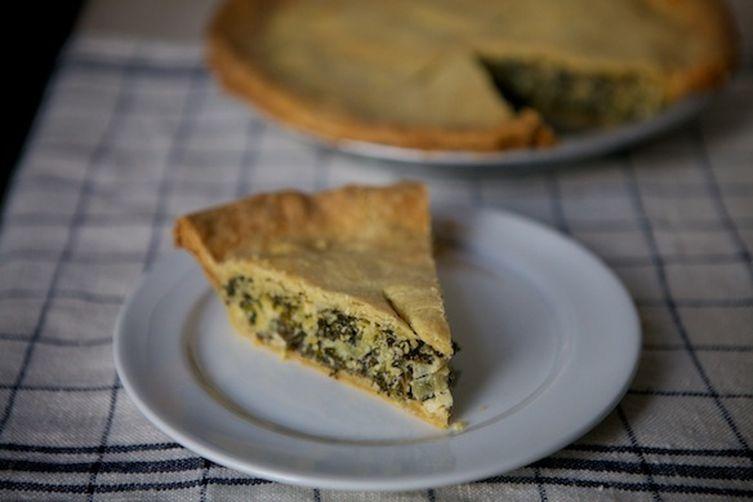 Leek and Greens Tart with Cornmeal Crust