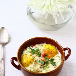 Baked Eggs with Smoked Salmon, Arugula and Manchego