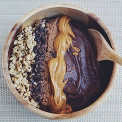 Chocolate Peanut Butter Protein Acai Bowl