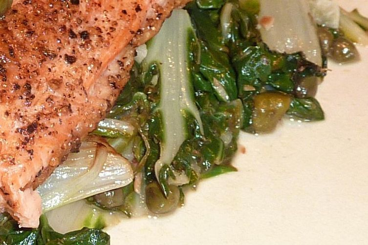 Lemony Swiss Chard with Fried Capers and Garlic