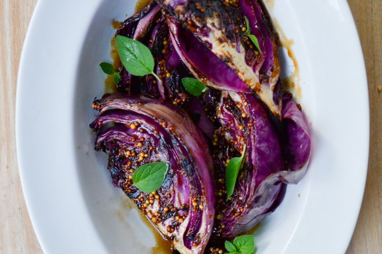 GRILLED RED CABBAGE WITH MUSTARD SAUCE