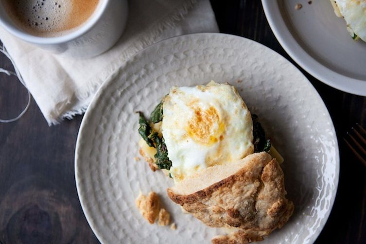 Sharp Cheddar and Mustardy Greens Breakfast Sandwich