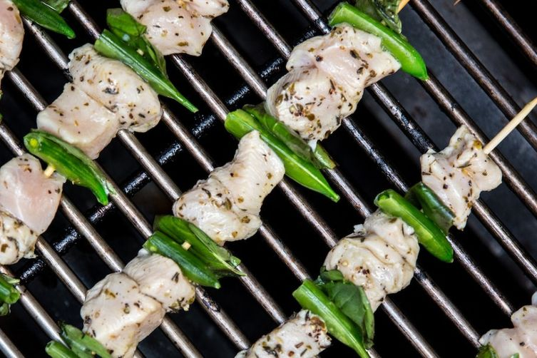 Grilled Chicken Skewers with Sugar Snap Peas and Tzatziki