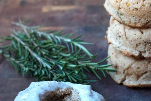 Lemon and Rosemary Doughnuts with Coconut Frosting