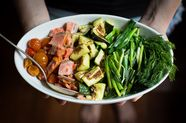 Warm Bread Salad with Smoked Salmon, Roasted Vegetables & Creamy Dill Dressing