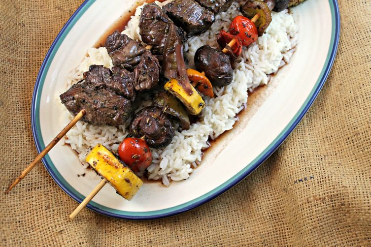 Marinated Shish Kabobs Over Rice