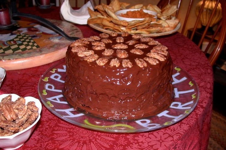 Kahlua Chocolate Cake with Pecans