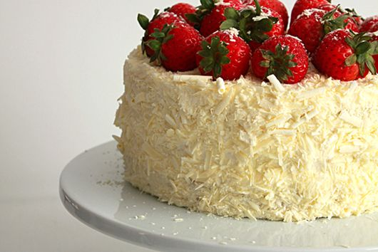 Strawberry and white chocolate cream cake