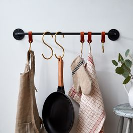 American-Made Iron Pot Rack & Brass S-Hooks