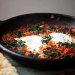 Skillet Bread with Baked Beans, Spinach and Eggs
