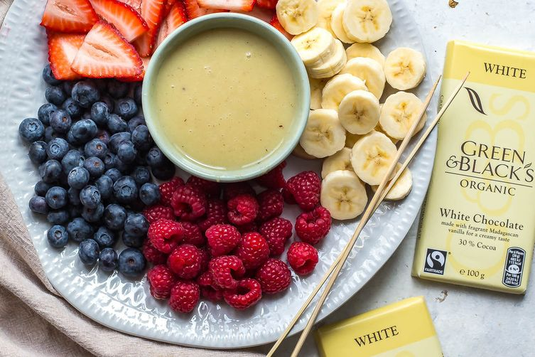 Two-Ingredient White Chocolate Fondue for Two