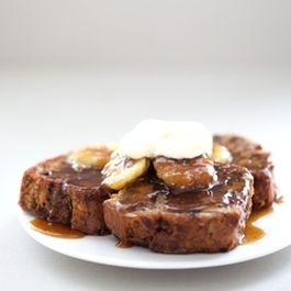 Sauteed Banana Bread with Caramelized Bananas & Flaming Whisky Sauce