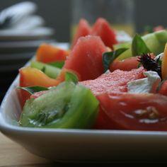 Watermelon, tomato & goats cheese salad with lemon truffle vinaigrette