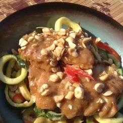 Braised Chicken Satay with Zucchini Noodles