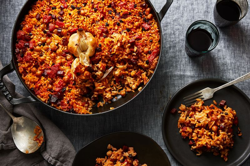 Spanish Baked Rice with Chorizo and Chickpeas