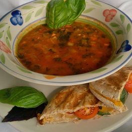 Tomato Florentine Soup with Grilled cheese with Tomato and Basil