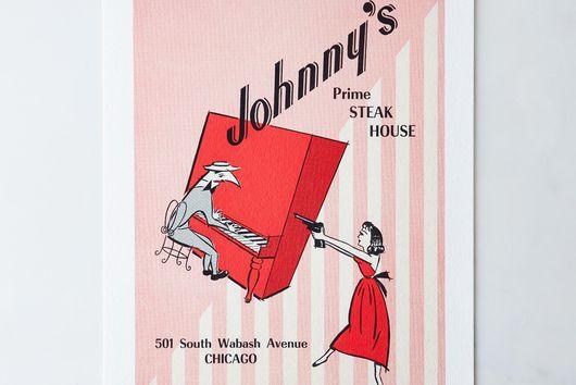 Vintage Menu Print: Johnny's Steak House