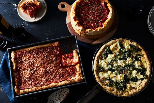 Deep Dish Skillet White Pizza with Roasted Garlic, Broccoli Rabe, and Bechamel