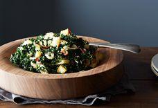 Caesar-Style Kale Salad with Roasted Onions and Ricotta Salata