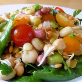 Bean Sprout, tomato and baby corn salad by Bonnie Levy