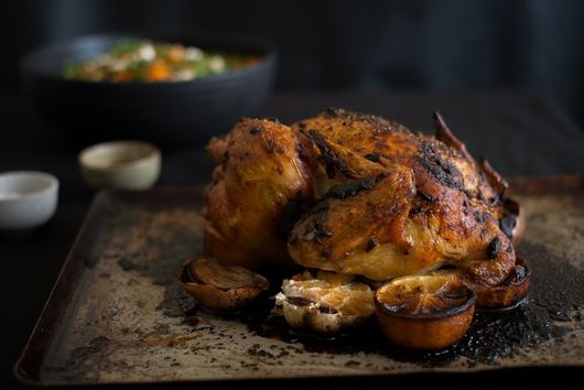 Preserved lemon rubbed roast chicken