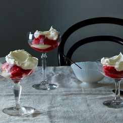 Strawberry Ice with Condensed Milk and Whipped Cream