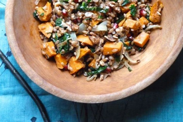 Farro with Roasted Sweet Potato, Kale and Pomegranate Seeds Recipe on ...
