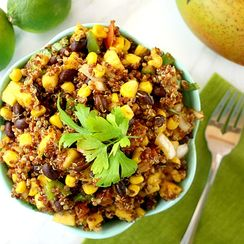 Red Quinoa and Mango Salad with Lime Dressing