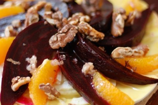 Beets with (Fennel, Orange, and Walnut)^2