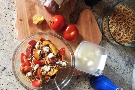 Tomato and Peach Pasta Salad