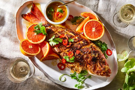 Grilled Red Snapper With Cara Cara Oranges & Chiles
