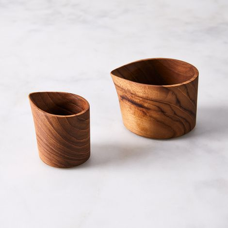 Teak Creamer Set (Set of 2)