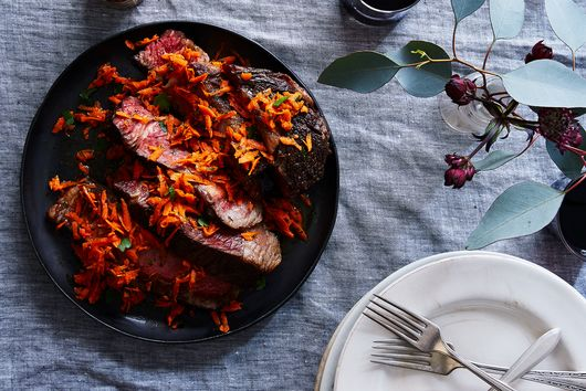 Slow-Cooked Rib Eye Topped with Spicy Harissa Carrots
