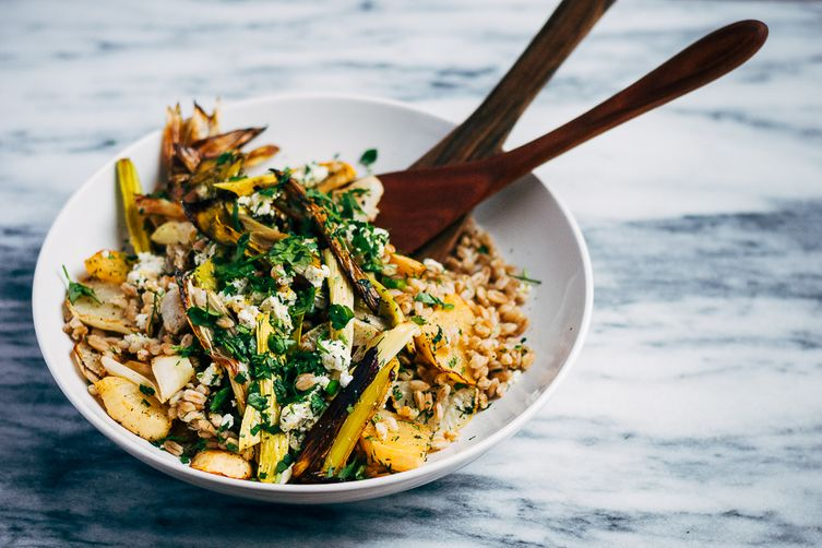 Toasted Farro Salad with Roasted Leeks and Root Vegetables Recipe on ...