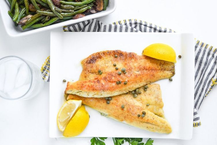 Sea Bass with Lemon Butter Caper Sauce  8 8